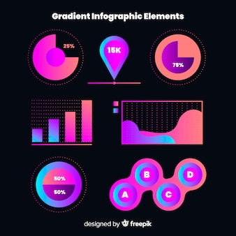 Płaskie gradientowe elementy infographic