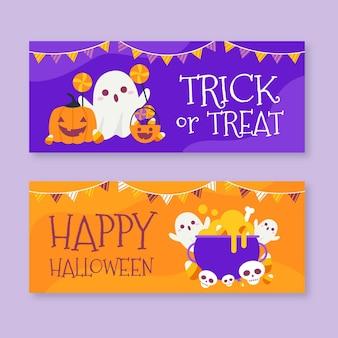 Płaskie halloween banery koncepcja