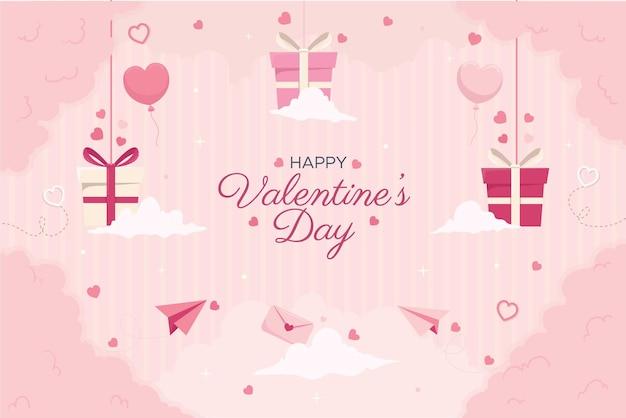 Płaskie happy valentines day tło projekt