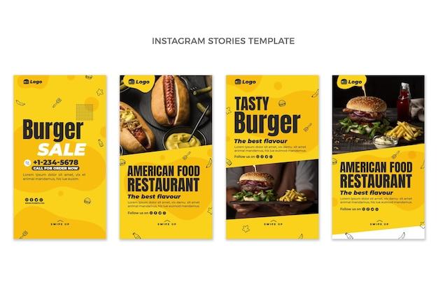 Płaskie historie na instagramie z jedzeniem