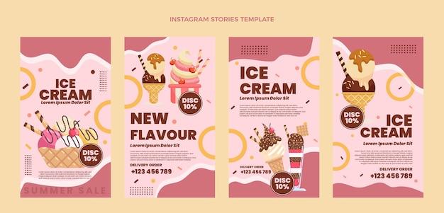 Płaskie historie z lodami na instagramie