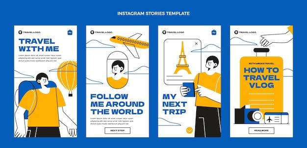 Płaskie historie z podróży na instagramie