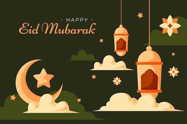 Płaskie I Ręcznie Rysowane Styl Eid Mubarak Ilustracja Premium Wektorów