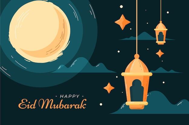 Płaskie i ręcznie rysowane styl eid mubarak ilustracja