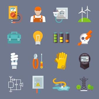 Płaskie ikona energii elektrycznej