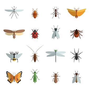 Płaskie ikona owadów