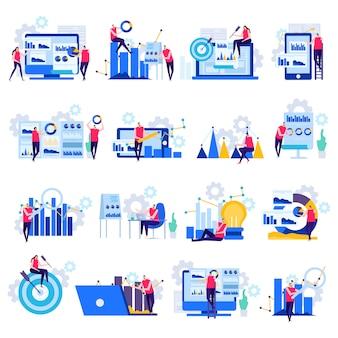 Płaskie ikony analizy biznesowej