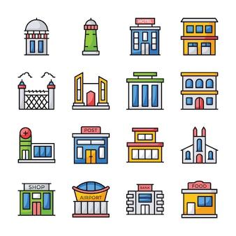 Płaskie ikony architektury budynków