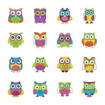 Płaskie ikony baby owl