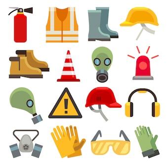 Płaskie ikony bezpieczeństwa pracy