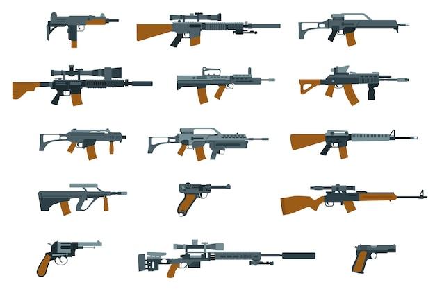 Płaskie ikony broni. pistolet i karabin, strzelba i karabin maszynowy.