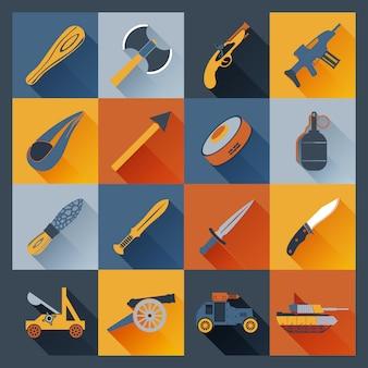 Płaskie ikony broni