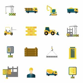 Płaskie ikony budowlane