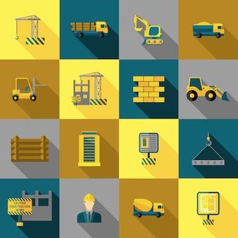 Płaskie ikony budowy