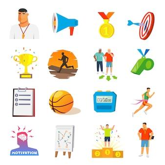 Płaskie ikony coaching i sport