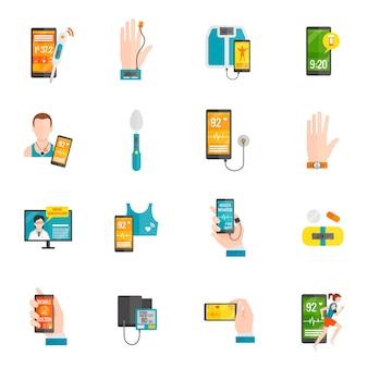 Płaskie ikony cyfrowe zdrowia
