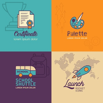 Płaskie ikony edukacji