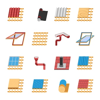 Płaskie ikony elementów konstrukcji dachu zestaw