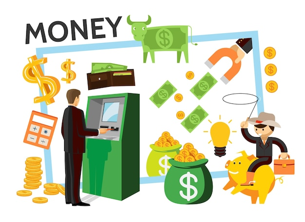 Płaskie ikony finansów zestaw z biznesmenem w pobliżu bankomatu dolara krowa worek pieniędzy portfel z magnesem kalkulatora