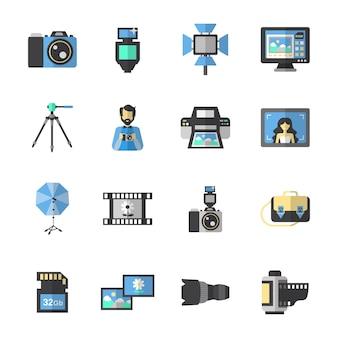 Płaskie ikony fotografii