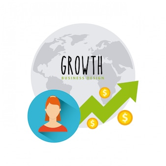 Płaskie ikony funduszy wzrostu gospodarczego