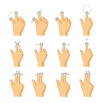Płaskie ikony gestów dotykowych