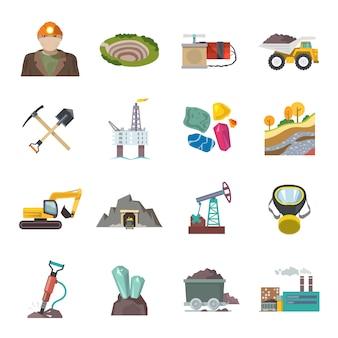 Płaskie ikony górnicze