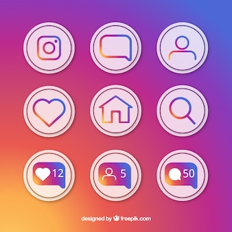 Płaskie ikony i zestaw powiadomień instagram
