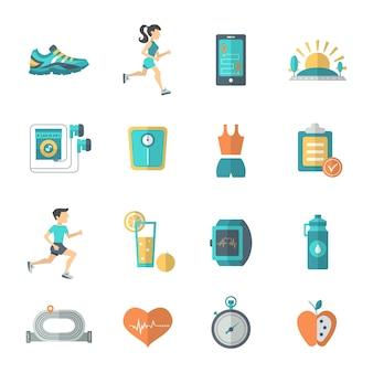 Płaskie ikony joggingu