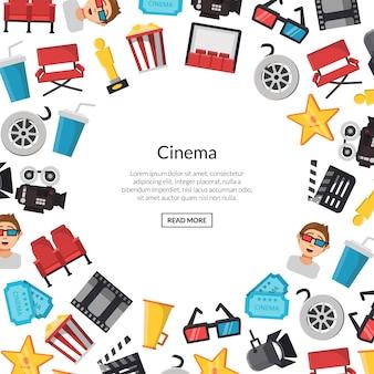 Płaskie ikony kina tło z miejscem na tekst