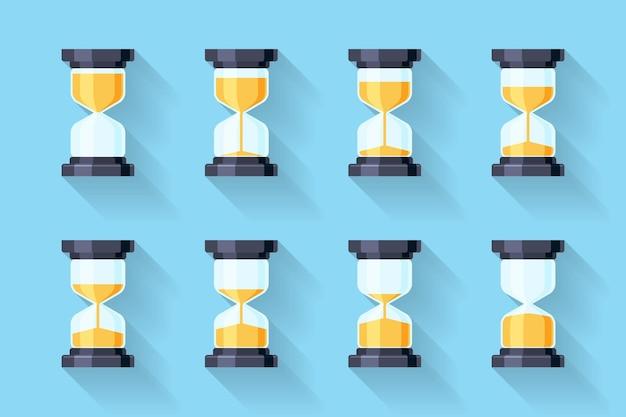 Płaskie ikony klepsydry. ramki animacji klepsydry.