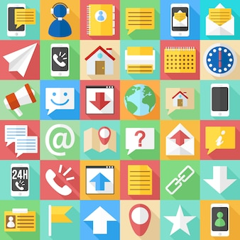 Płaskie ikony komunikacji. clipart bussines and web assistance.