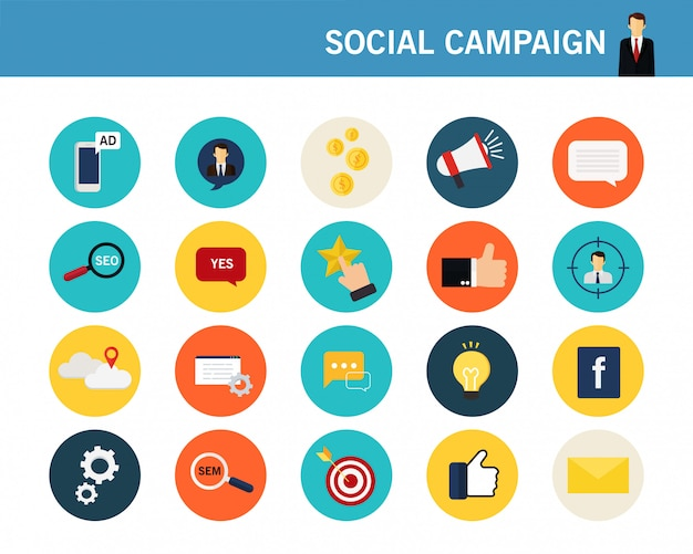 Płaskie ikony koncepcja kampanii społecznych