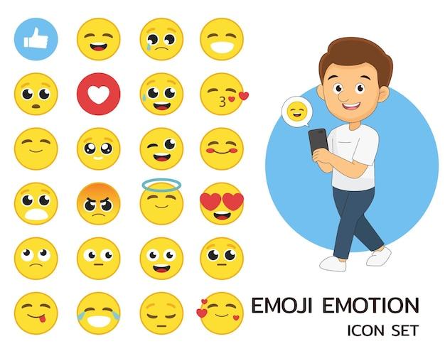 Płaskie ikony koncepcji emocji emotikon