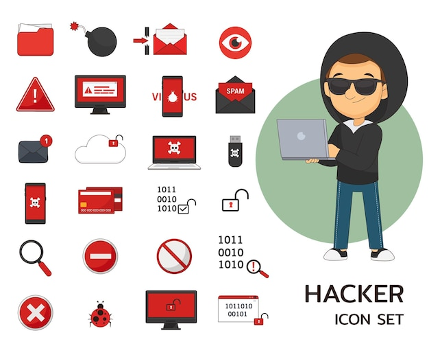 Płaskie ikony koncepcji hakera
