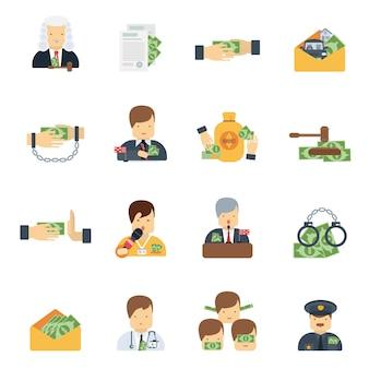 Płaskie ikony korupcji