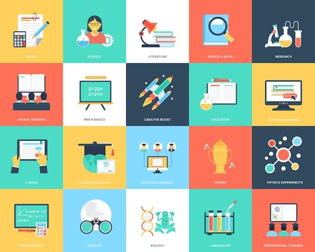 Płaskie ikony kreatywnych edukacji