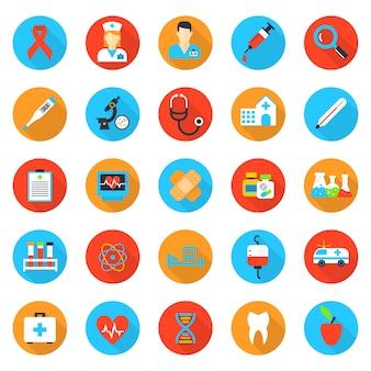 Płaskie ikony medycyny i opieki zdrowotnej. szpital i zdrowie, pogotowie i pomoc, lekarz i apteka