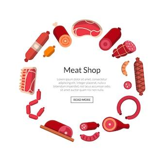 Płaskie ikony mięsa i kiełbas na białym tle