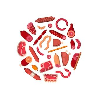 Płaskie ikony mięsa i kiełbas w kształcie okręgu ilustracji