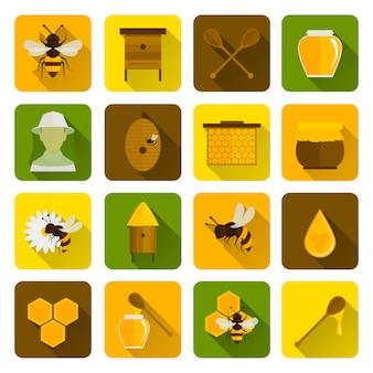 Płaskie ikony miodu pszczół