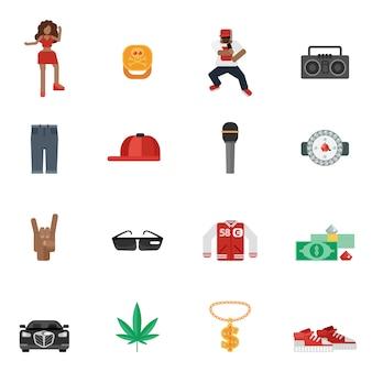 Płaskie ikony muzyki rap