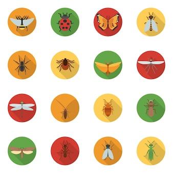Płaskie ikony owadów