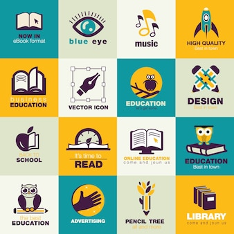 Płaskie, ikony pack edukacja