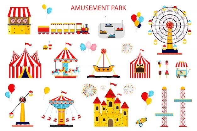 Płaskie ikony parku rozrywki. karuzele, zjeżdżalnie wodne, balony, flagi, nadmuchiwany zamek na trampolinie, diabelski młyn, mobilny kiosk ze słodyczami, katapulta na białym tle
