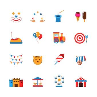 Płaskie ikony parku rozrywki