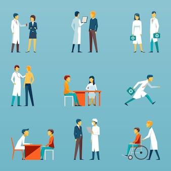 Płaskie ikony personelu medycznego. zestaw opieki zdrowotnej. ilustracja lekarz, pielęgniarka i ludzie