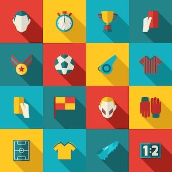 Płaskie ikony piłki nożnej