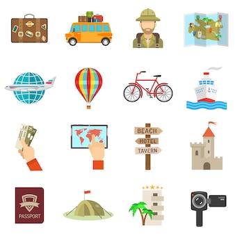 Płaskie ikony podróży