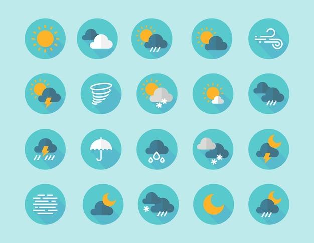 Płaskie ikony pogody. elementy infografikę interfejsu z chmury słońce deszcz mgła wiatr symboli. płaskie ikony wektor zestaw w kolorze niebieskim z sylwetka zamrozić piorun grad wiatr